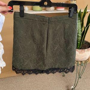 Top shop olive green mini skirt